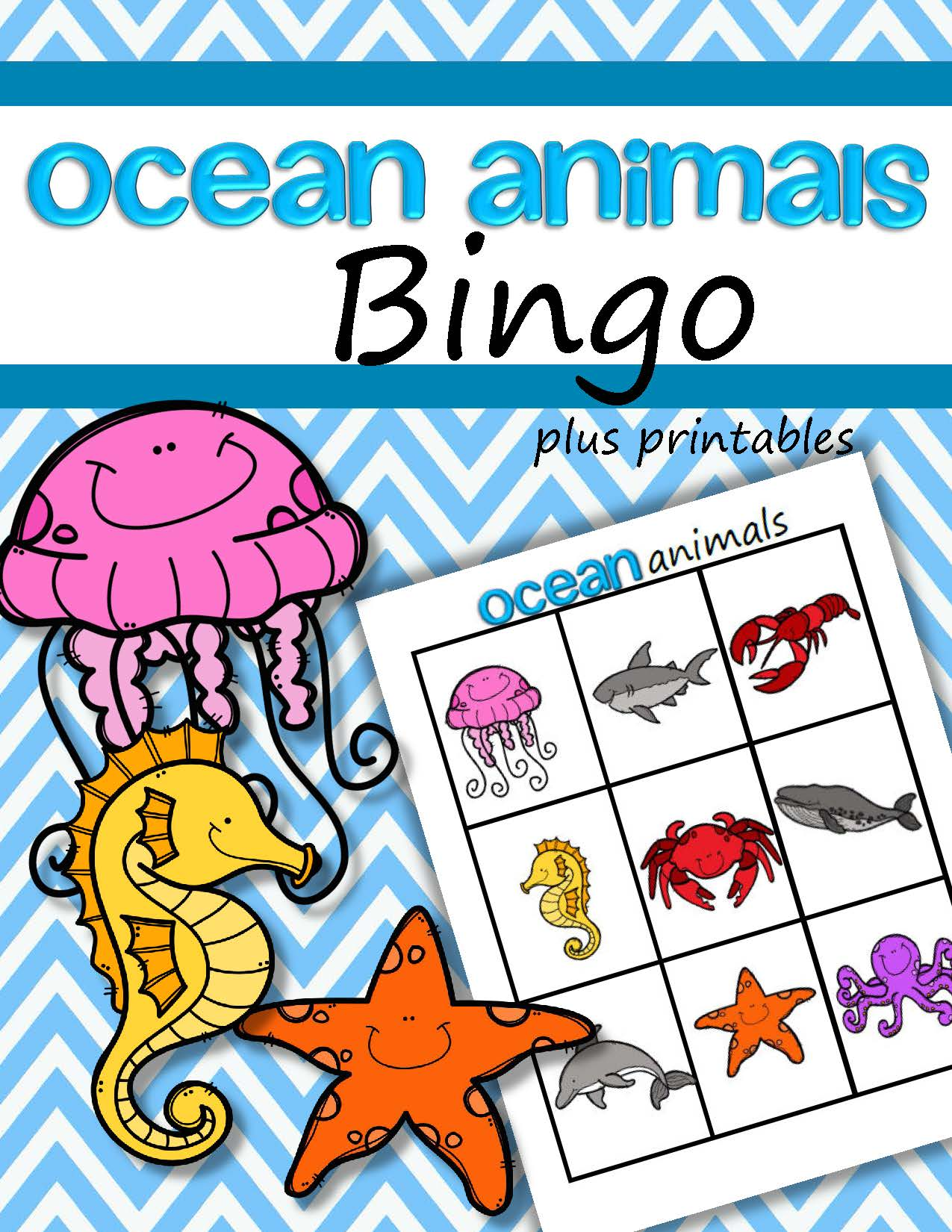Ocean Animals Bingo Game For Preschool