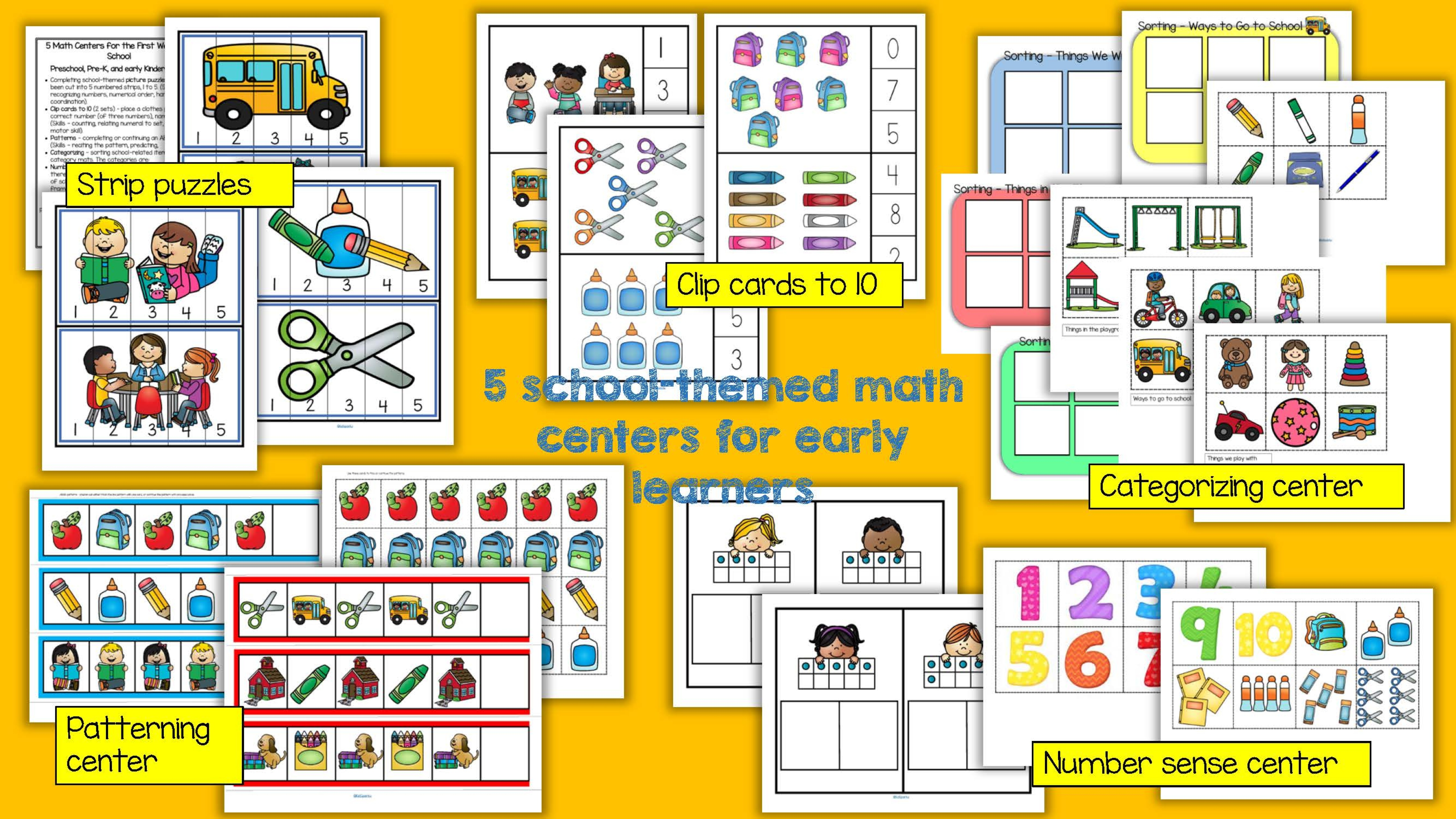 Back To School 5 Math Centers For Preschool