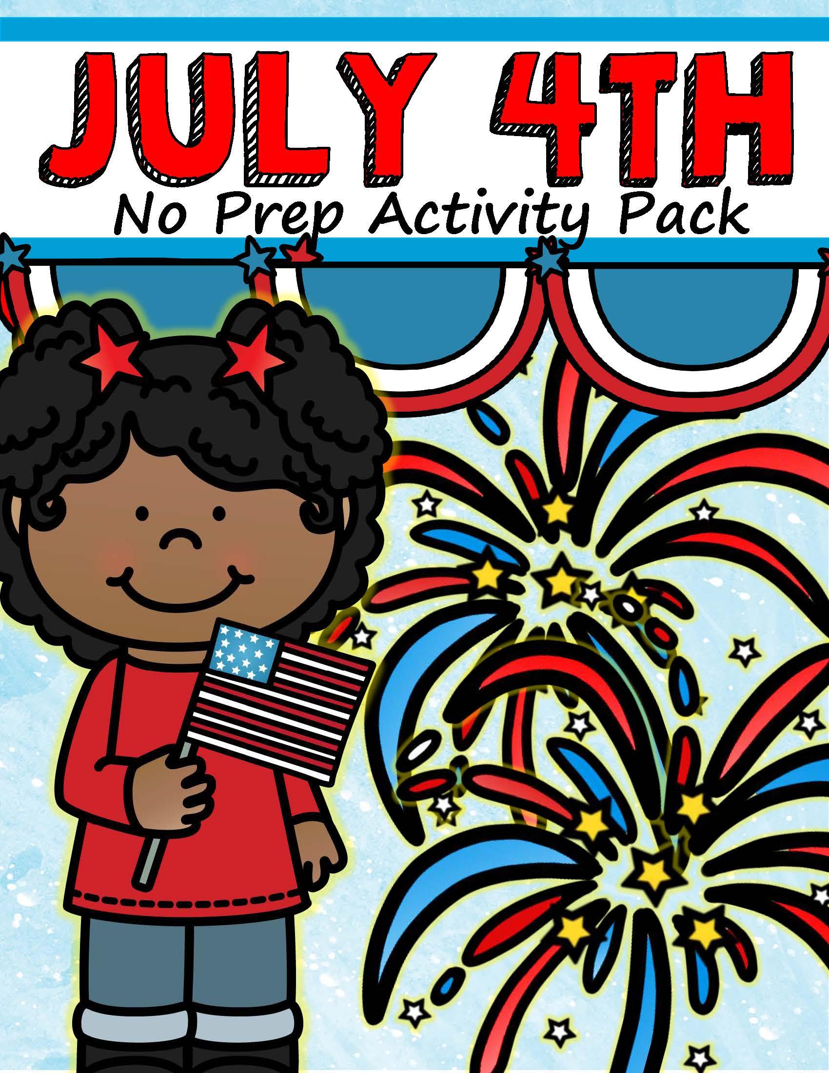 July 4th Activity Printables No Prep Preschool And Kindergarten