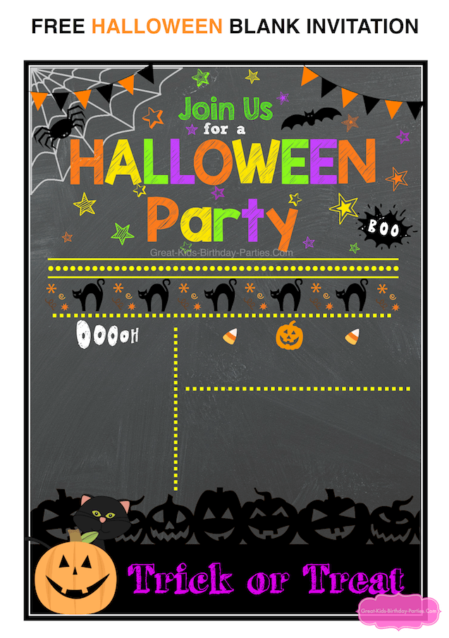 Purple and orange bordered halloween costume party invitation. Free Halloween Printables