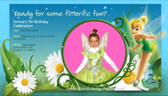 sample birthday invitation tinkerbell