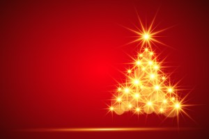 gold christmas tree on red background