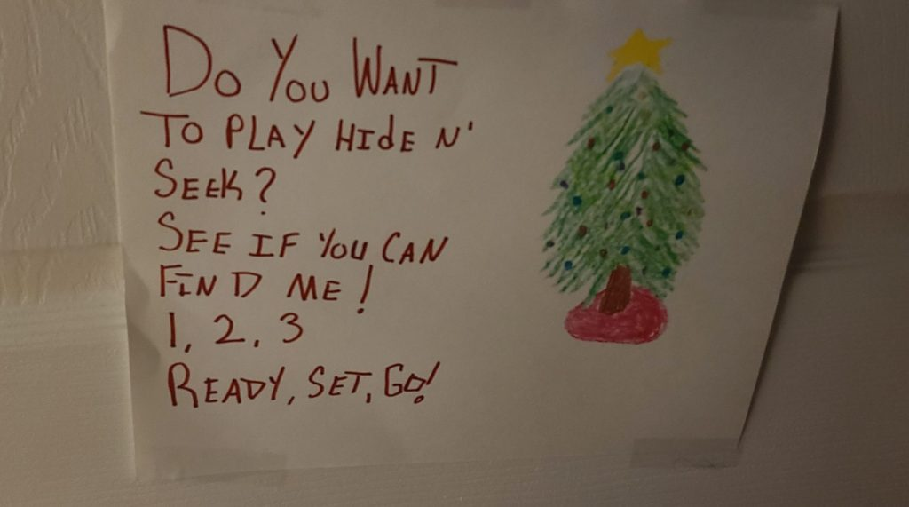 Note from the elf on the shelf