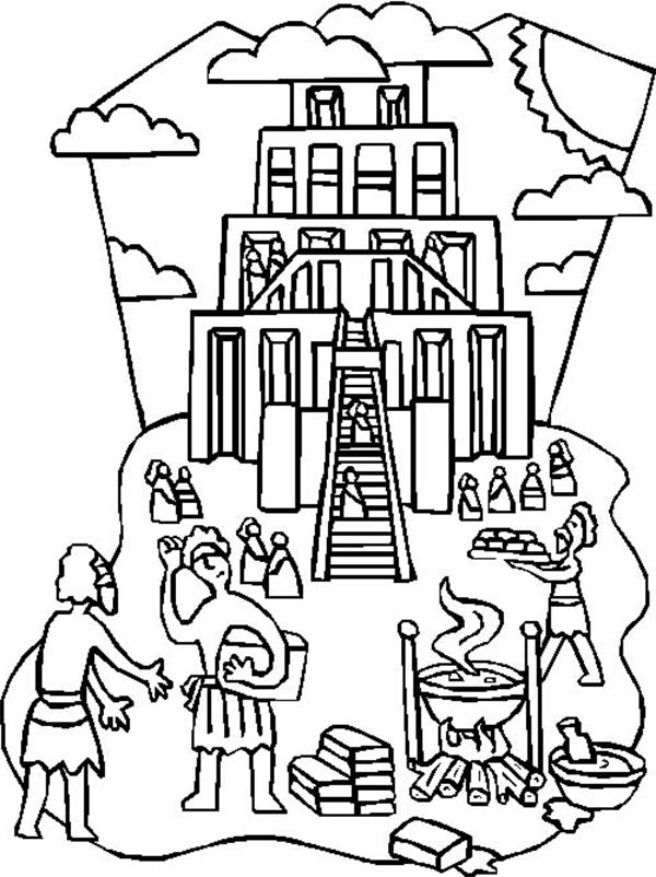 illustration of building tower of babel coloring page