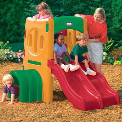 Twin Slide Tunnel Climber - Your Kids Colorful Outdoor Playcenter