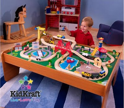 Ride Around Town Train Set with Table - Compatible with Thomas and Friends and Brio wooden train sets