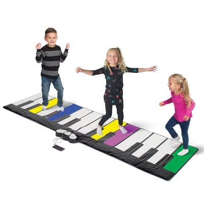 The Light Up Party Piano - lights up in bright colors and plays music when you dance or jump on the giant keys