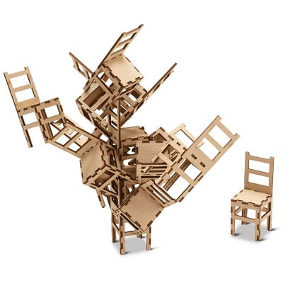 The MOMA Stacking Chair Game - Allows players to form sculptures without toppling