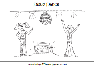 Disco Dance Colouring Page Kids Puzzles And Games