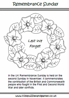 Remembrance Sunday Kids Puzzles And Games