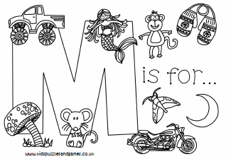 Letter M Colouring Sheets Kids Puzzles And Games