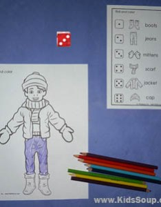 Roll and color winter clothes game also keeping warm clothing riddles rhyme more kidssoup rh