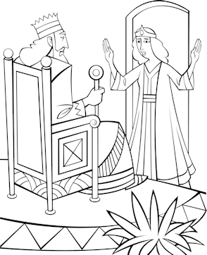 Queen Esther Bible Coloring Pages Sketch Coloring Page