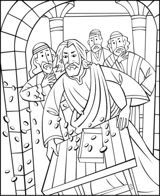 Draw Samples: Coloring Page Jesus At The Temple Easy Drawing