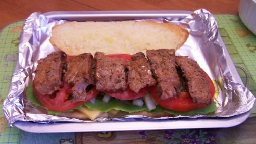 Steak on sandwich