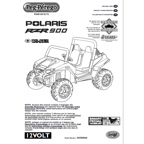 Peg Perego Polaris Ranger RZR 900 User Manual FIUS1201G172