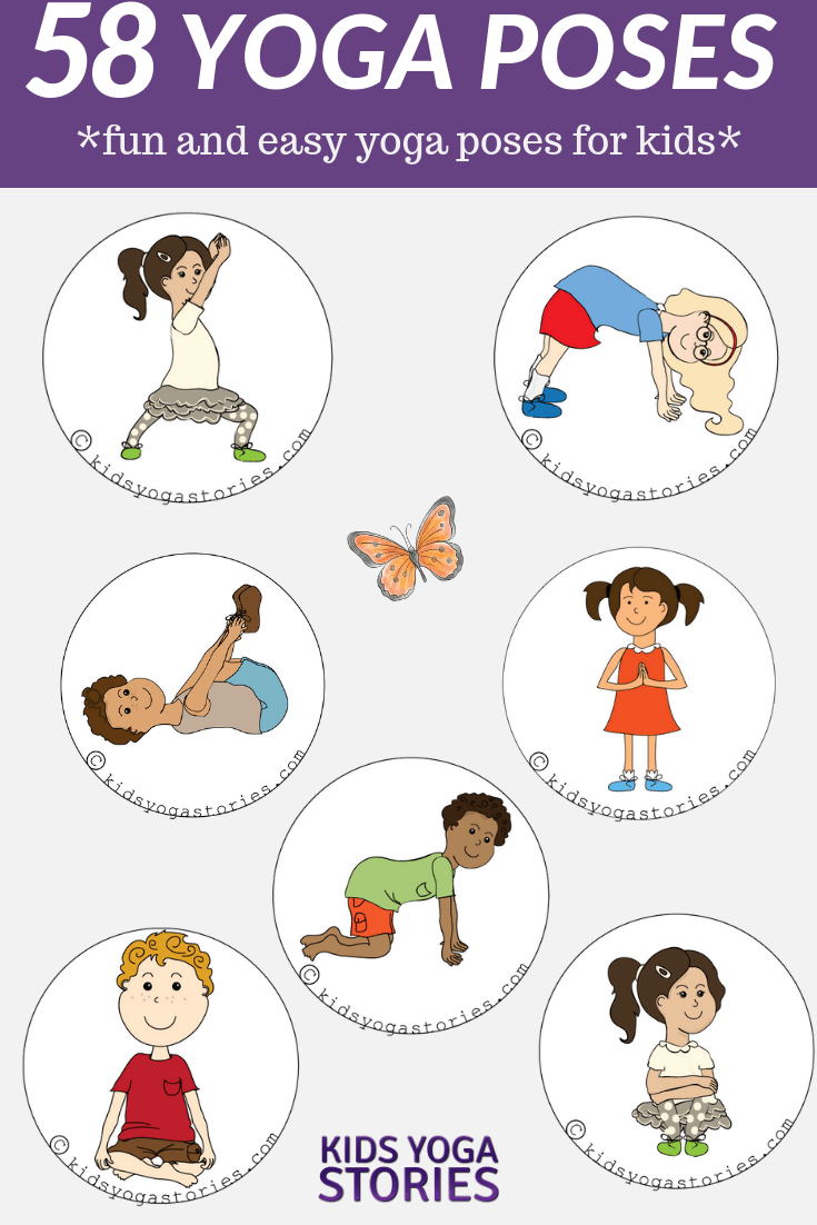 picture regarding Yoga Poses for Kids Printable called Easy Yoga Poses For Children