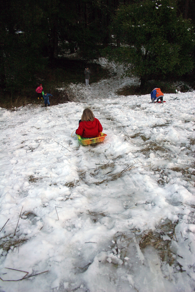 Snow Play at Castle Rock in The Santa Cruz Mountains on