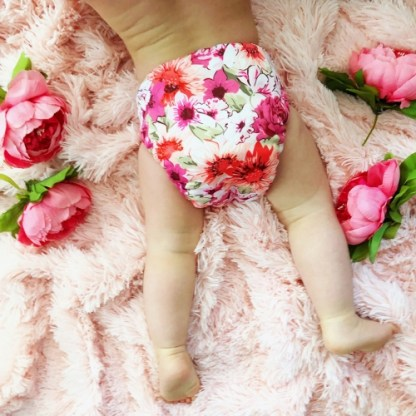 Baby in Reusable Cloth Pocket Nappy Floral Flowers