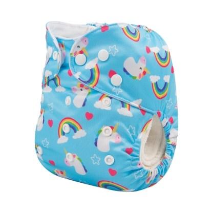 Alvababy Reusable Cloth Pocket Nappy Unicorn on Blue