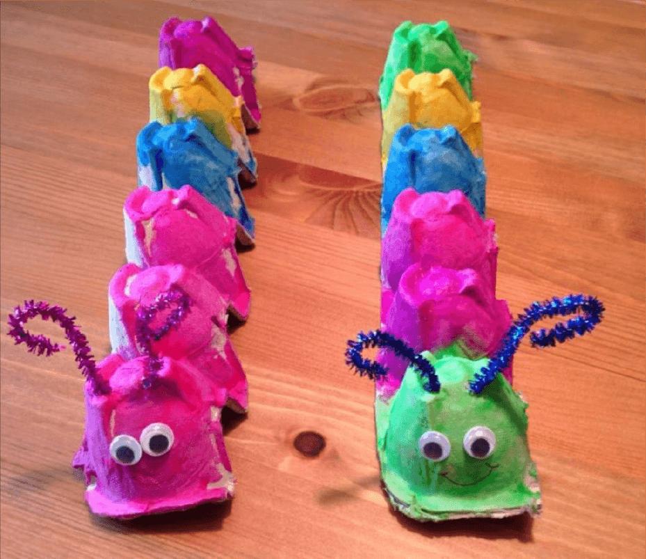 animaux en emballages chenilles en boites d'oeufs