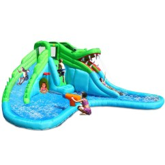 Inflatable Water Chairs For Adults Chair Cover Rental Cost Kidwise Crocodile Swamp Slide