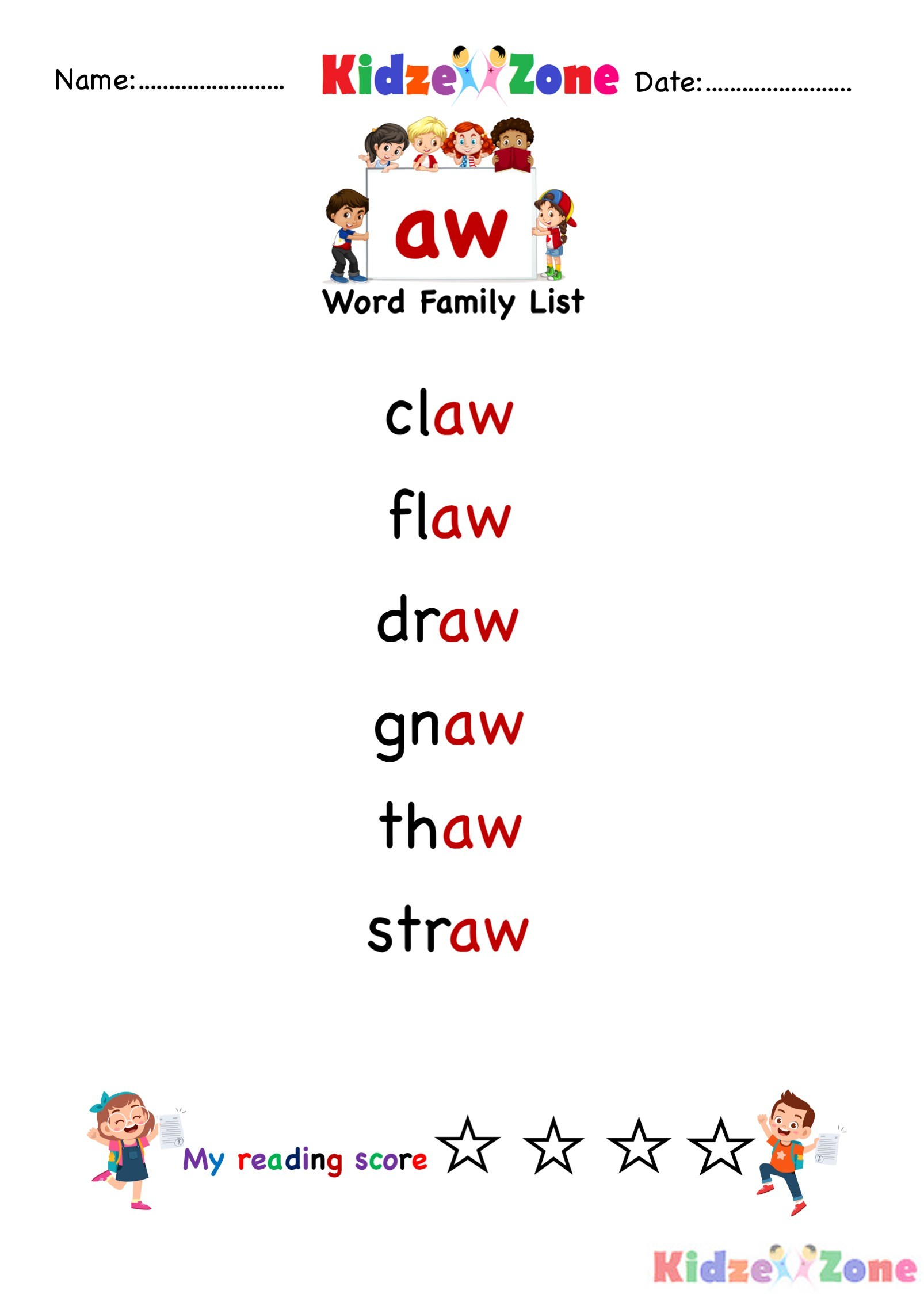 Explore And Learn Words From Aw Word