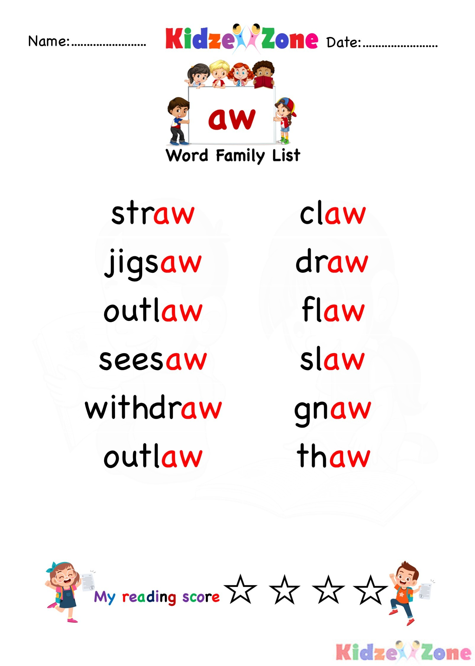 Explore And Learn Words From Aw Word Family