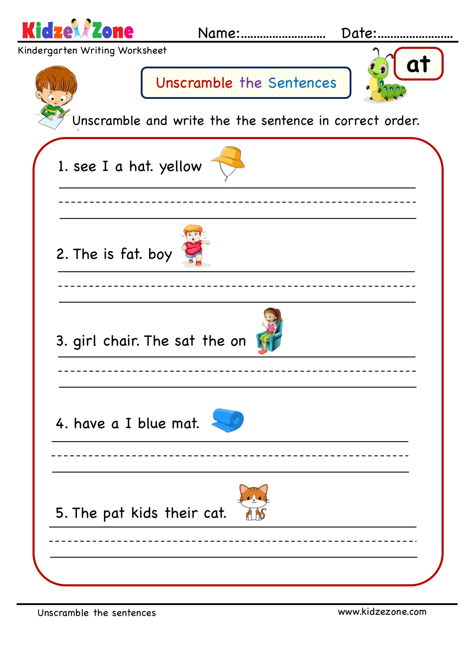 hight resolution of at word family Unscramble word worksheet - KidzeZone