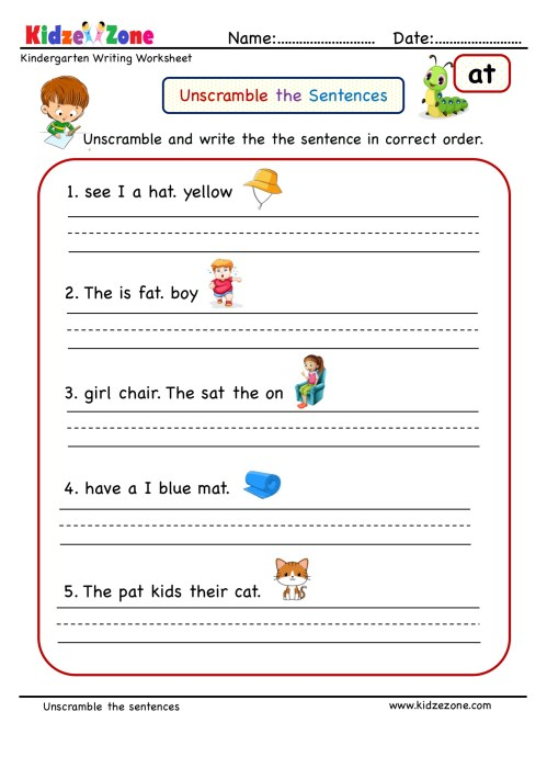 small resolution of at word family Unscramble word worksheet - KidzeZone