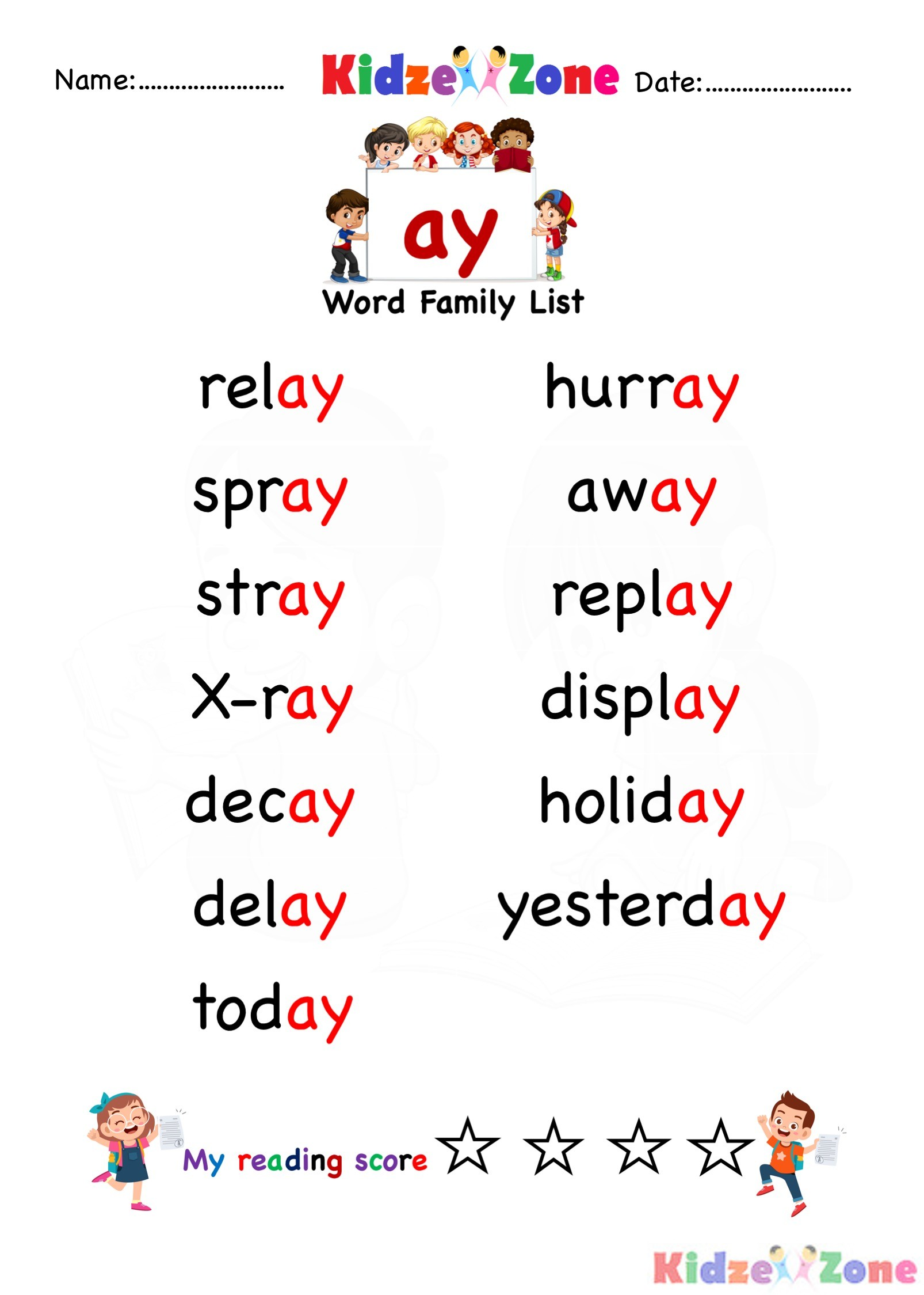 Explore And Learn Words From Ay Word Family