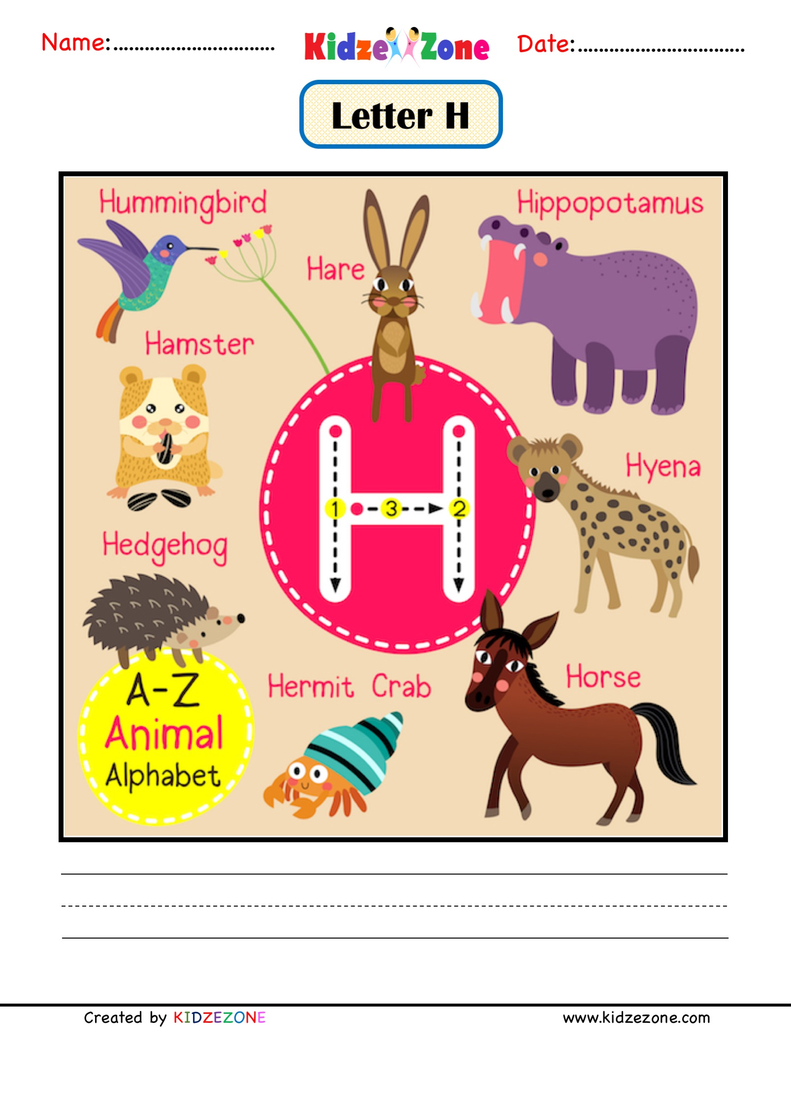 Kindergarten Letter H Animal Picture Cards Worksheet