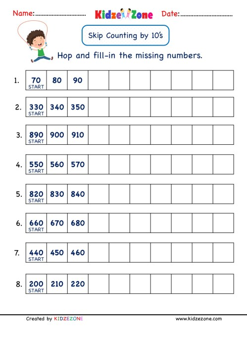 small resolution of Grade 2 Math Number Practice worksheets - Skip Counting by 10