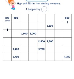 Grade 2 Math Number worksheets - Skip Counting by 100 [ 2249 x 1606 Pixel ]