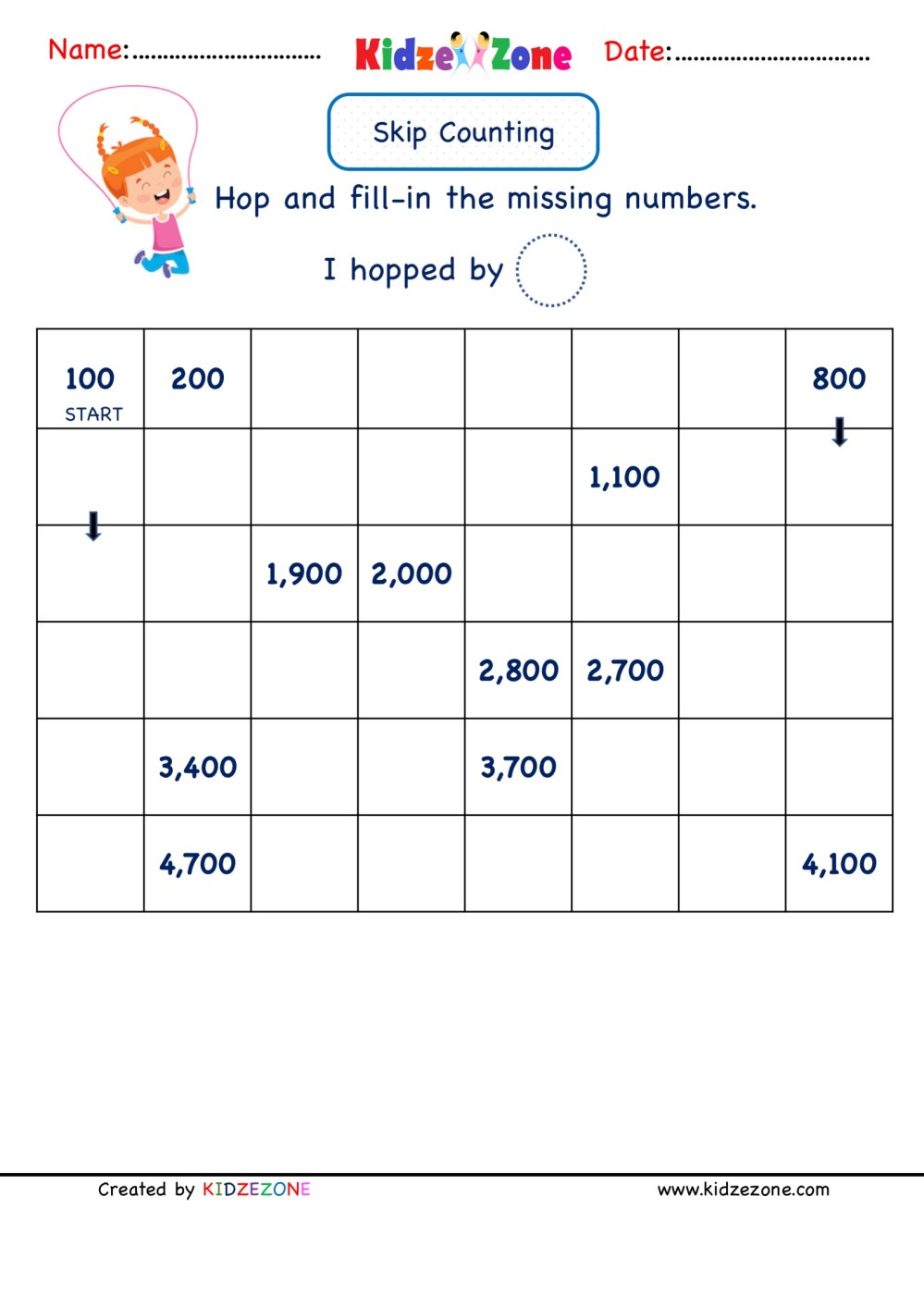 medium resolution of Grade 2 Math Number worksheets - Skip Counting by 100