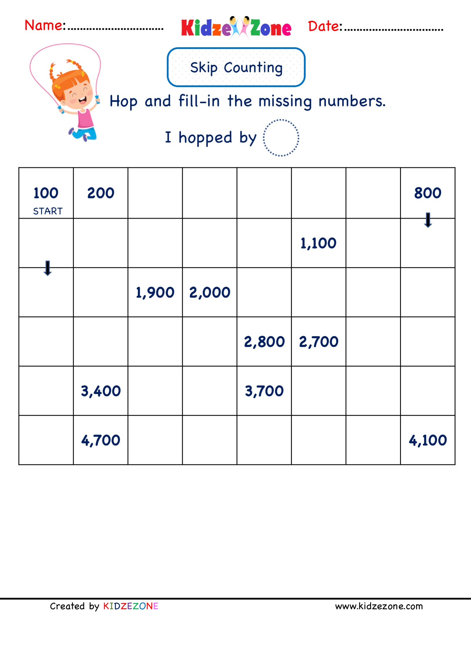 hight resolution of Grade 2 Math Number worksheets - Skip Counting by 100