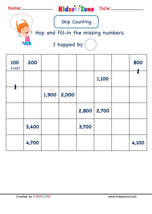 small resolution of Grade 2 Math Number worksheets - Skip Counting by 100