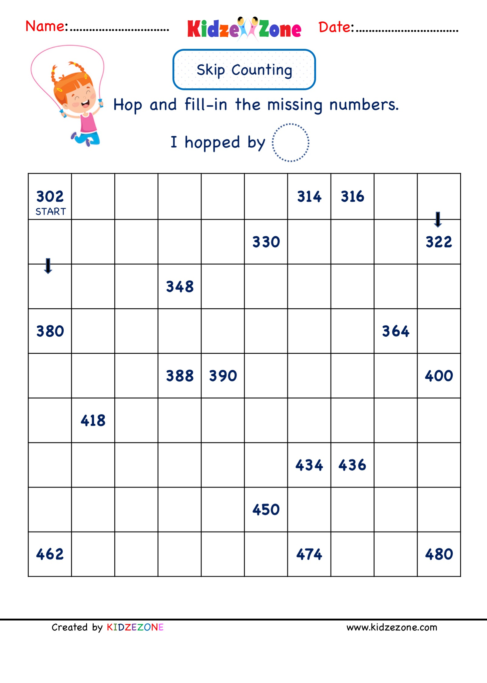 hight resolution of Grade 2 Math Numbers - Skip Counting by 2 (302 to 480)