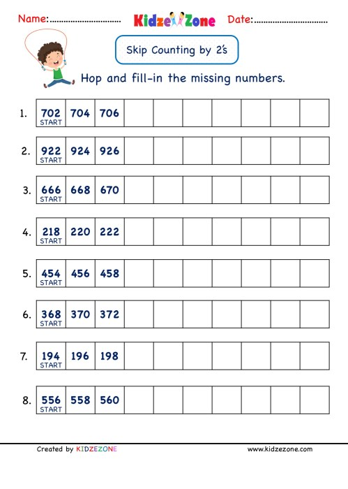 small resolution of Math Number worksheets - Skip Counting by 2