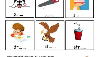 aw word family - complete word worksheet