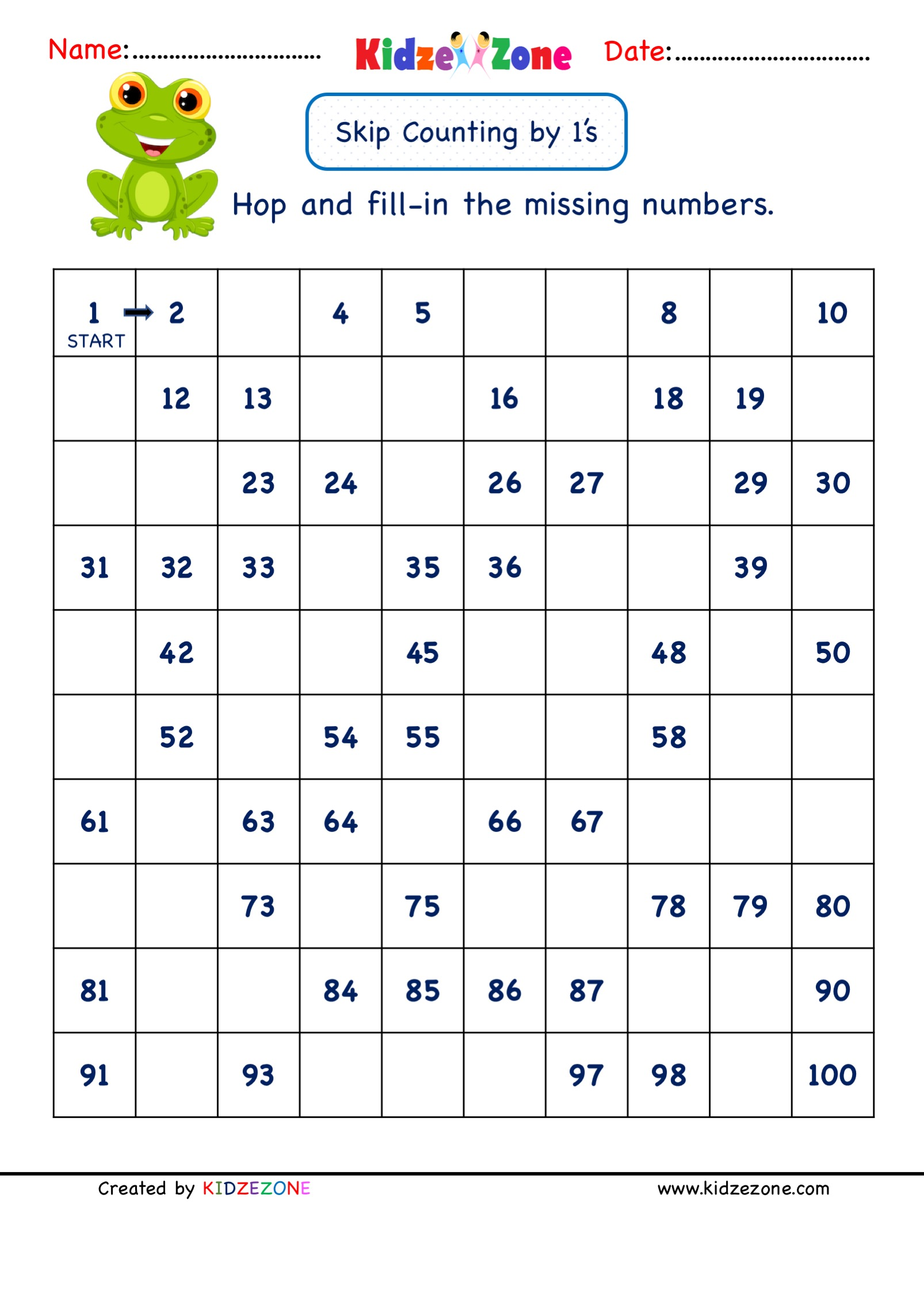 hight resolution of Grade 1 Math Number worksheets - Skip Counting by 1