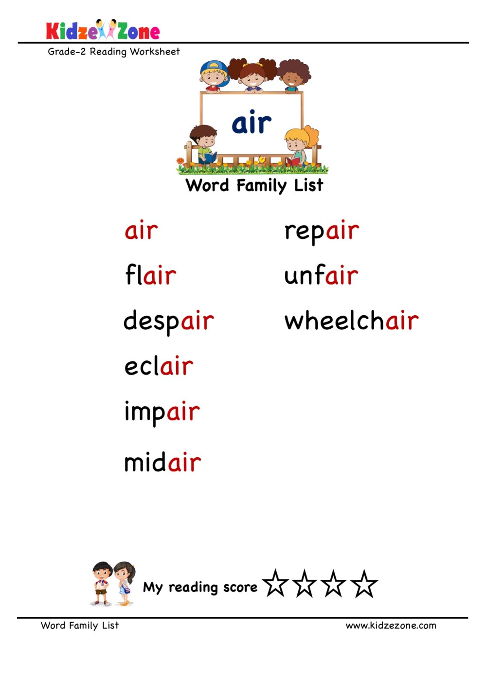medium resolution of Explore and learn words from \air\ word family with word list worksheet