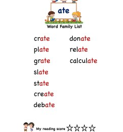 Explore and learn words from \ate\ word family with word list worksheet [ 2249 x 1606 Pixel ]