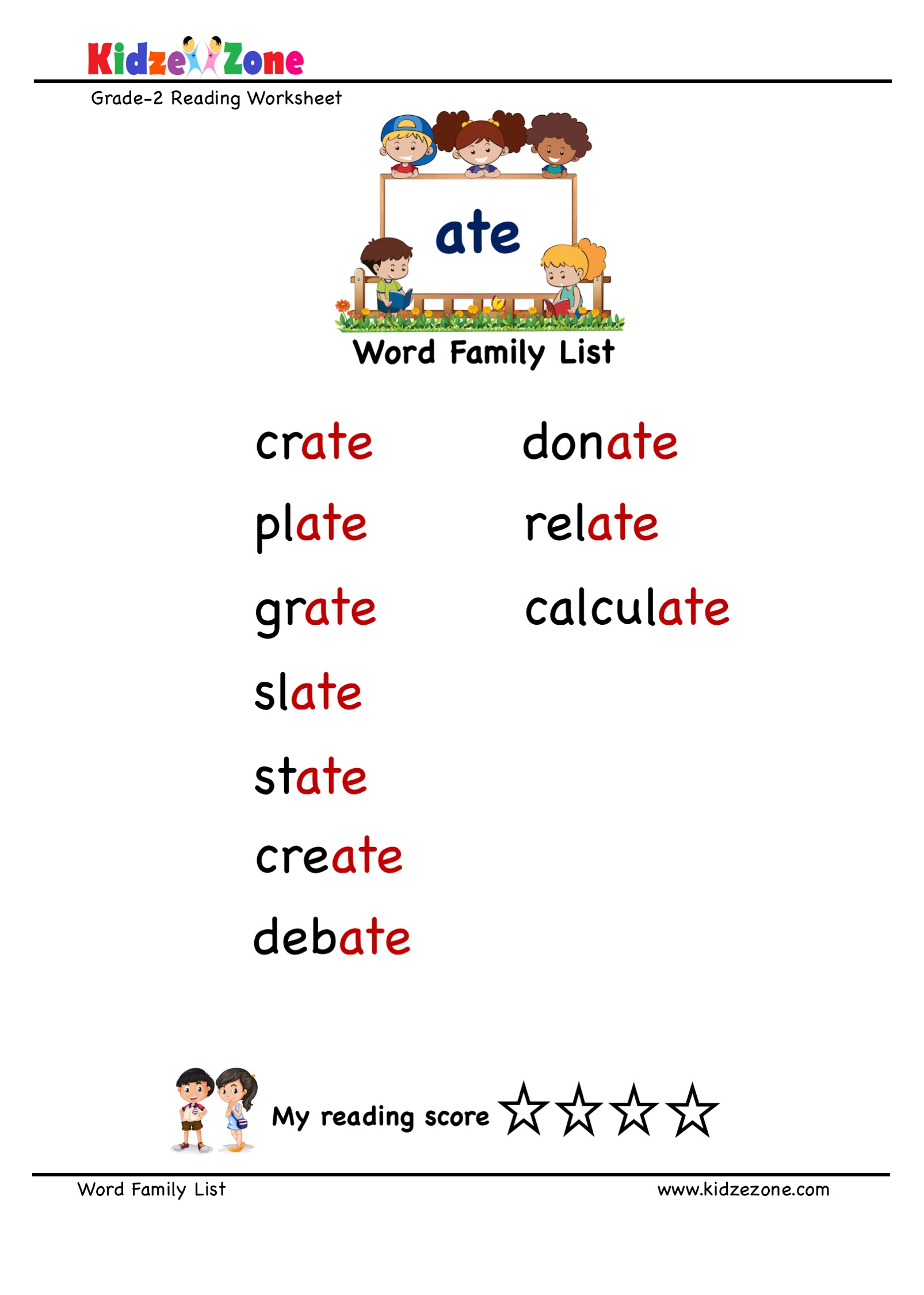 hight resolution of Explore and learn words from \ate\ word family with word list worksheet