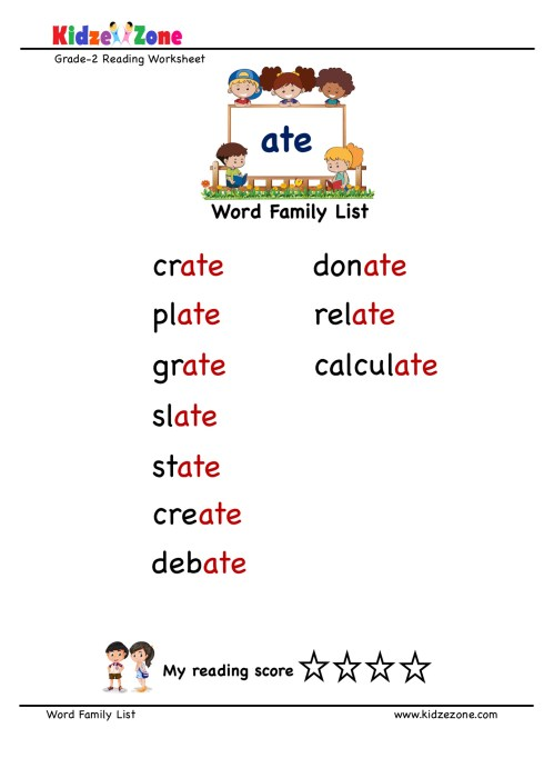 small resolution of Explore and learn words from \ate\ word family with word list worksheet