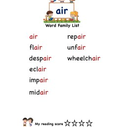 Explore and learn words from \air\ word family with word list worksheet [ 2249 x 1606 Pixel ]
