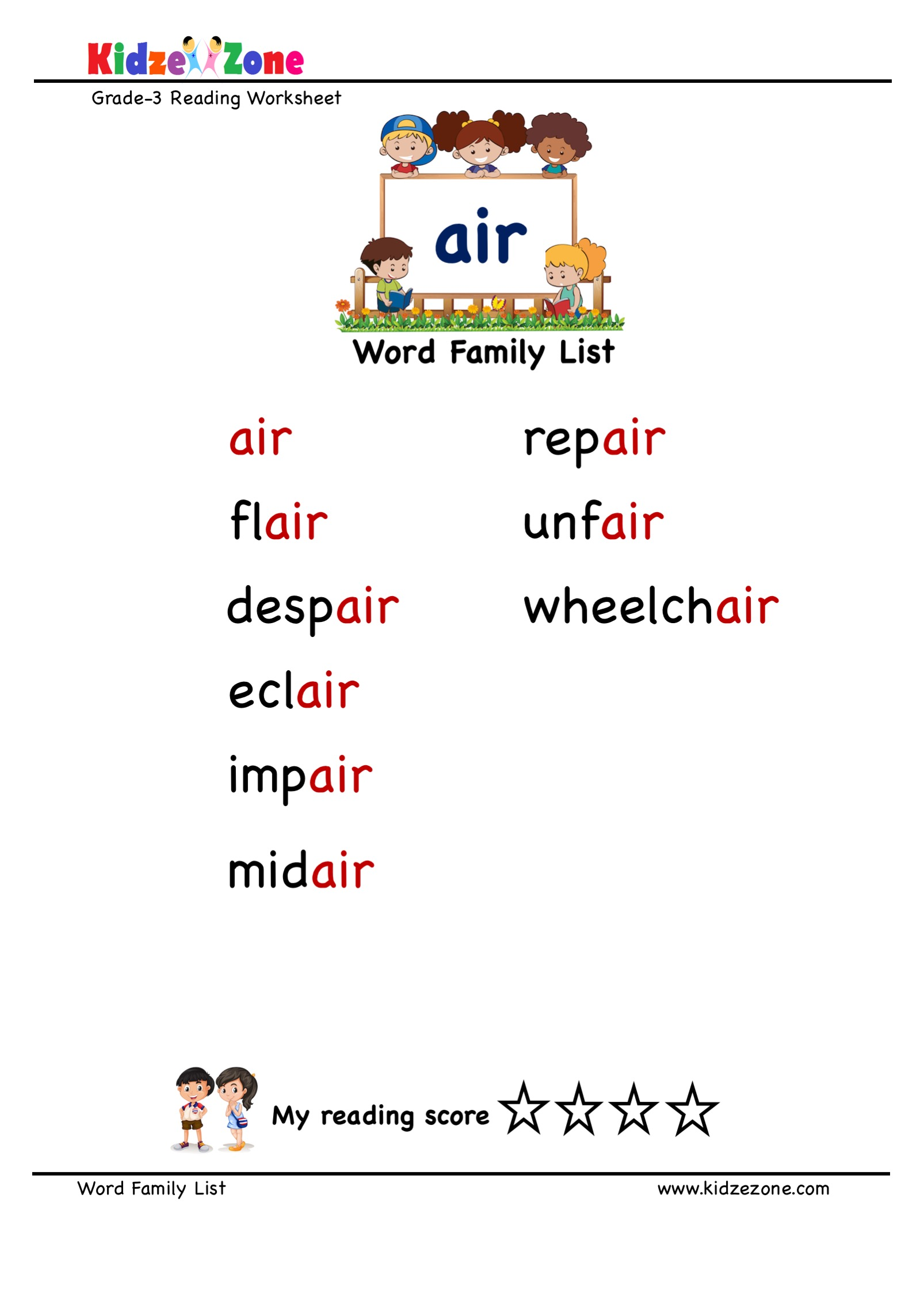 hight resolution of Explore and learn words from \air\ word family with word list worksheet