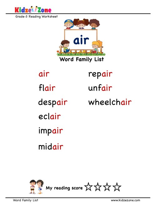 small resolution of Explore and learn words from \air\ word family with word list worksheet