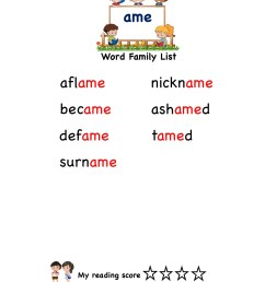 Explore and learn words from \ame\ word family with word list worksheet [ 2249 x 1606 Pixel ]
