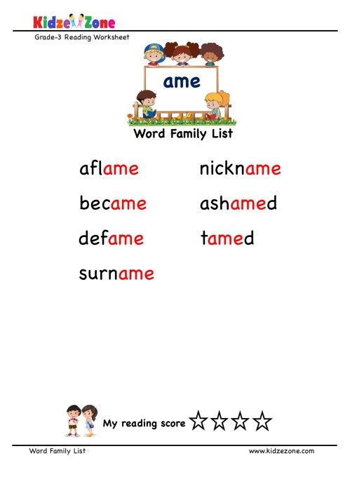 small resolution of Explore and learn words from \ame\ word family with word list worksheet
